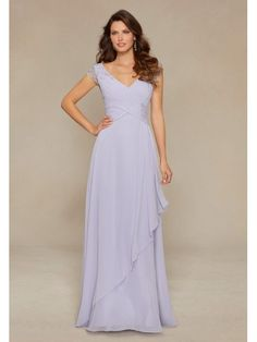 a61eb777493e Capped Sleeves Chic & Modern V-Neck Sheath Chiffon Floor Length Mother Of  The Bride Dress
