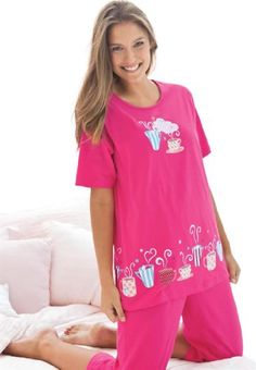 Dreams & Co Women's Plus Size 2-Piece Pj Set By Dreams & Co. Sweetberry Tea Cup, DREAMS,http://www.amazon.com/dp/B00CNB7TAI/ref=cm_sw_r_pi_dp_XE.vtb0GQQWNK35J