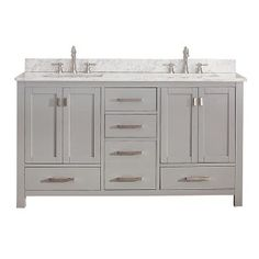 Modero Chilled Gray 48 Inch Vanity Combo With White Carrera Marble Top Vanities Bathroom