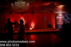First Dance at Gujarati Wedding in Freehold Radisson with Rangoli Weddings, make up artist Pauline and DJ SUnny Entertainment, Silhouette of Bride & Groom. Featured in Maharani Weddings.