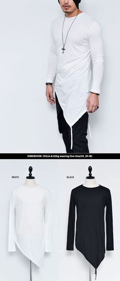 Tops :: Tees :: Unbalance Slant Cut Strap Long Round-Tee 489 - Mens Fashion Clothing For An Attractive Guy Look