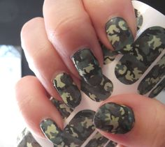 GREEN CAMO Nail Art Decals (CM2) Camouflage Nails