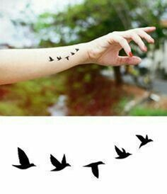 Graphic Design Flying Birds Temporary Tattoo -Jewellery Tattoo - Body - Wrist - Ankle Tattoo - ♥ ITEM DESCRIPTION ♥ Our temporary tattoos are printed by an FDA-approved, quality printer, and - Mini Tattoos, Trendy Tattoos, Sexy Tattoos, Cute Tattoos, Beautiful Tattoos, Body Art Tattoos, Small Tattoos, Tatoos, Small Eagle Tattoo