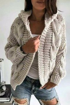Knitt cardigan knitting coat cardigan with braidswarm dresscozy dresswinter clothing gift ideashandmade itemcover up sweaters Warm Dresses, Winter Dresses, Dress Winter, Sweater Hoodie, Knit Cardigan, Winter Cardigan, Knit Fashion, Fashion Outfits, Fashion Clothes