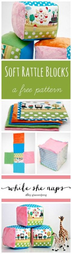 Sewing Projects For Baby A free pattern for Soft Rattle Blocks. - Sew these soft rattle block for babies with this free sewing pattern. Simple to make and so adorable, they're sure to be a hit at baby showers. Baby Sewing Projects, Sewing For Kids, Sewing Hacks, Diy For Kids, Sewing Ideas, Diy Projects, Baby Sewing Tutorials, Project Ideas, Crochet Projects