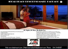 Day out Package at Ideal Group of Resorts ( From 09 am to 06 pm )  Net Package Per Person Rs.1100/Net The package includes Welcome drink on arrival , 01 lunch,  01 Time Tea/Coffee with Snacks  , Beach access , indoor and outdoor games ,Swimming pool usage for 01 Hour(For Swimming Nylon Swimming suite is mandatory) Apart from the above, all extras will be charged separately..  Give us a Call: 9176991183 for more details
