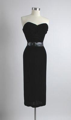 HEMLOCK VINTAGE CLOTHING : 1950's Black Velvet Ruched Bodice Cocktail Dress