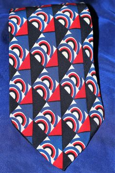 6daf31f3840b Vintage PIERRE CARDIN Rainbow Geometric Print Silk Tie Made in France  Paris-Red White Blue