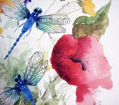 Dragonfly Painting, Dragonfly in the Summer ,  Remember the season anytime, Limited Watercolor Print with additional accents by the artist