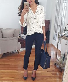 Office Outfit | business casual office outfit idea wrap polka dot blouse navy ankle pants for work more easy outfits on the 9