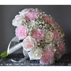 Bridal Bouquet - Pink Carnation, Rose & Gypsophila Ready To Ship Wedding Posy - Pearl Embellished - ONE ONLY Carnation Bouquet, Bridal Bouquet Pink, Pink Carnations, Bride Bouquets, Bridal Flowers, Flower Bouquet Wedding, Uk Bride, Pink Color Schemes, Pink Wedding Theme