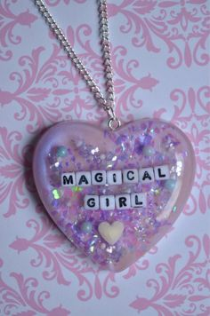 "Kawaii ""Magical Girl"" Lilac Heart Necklace"