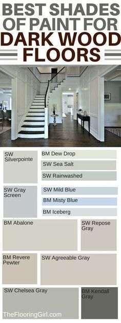 How to choose the best shade of paint and accent wall colors if you have dark hardwood floors. Which wall colors go best with dark hardwood flooring? Which paint shades are best for dark flooring and which paints should you use for accent walls? Home Renovation, Home Remodeling, Basement Renovations, Kitchen Remodeling, Best Paint Colors, Paint Colours, Gray Wall Colors, Home Paint Colors, Best Wall Colors