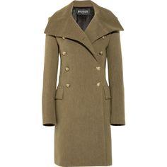Balmain Wool military coat ($2,190) ❤ liked on Polyvore featuring outerwear, coats, balmain, jackets, coats & jackets, woolen coat, fitted coat, wool military coats, button coat and long sleeve coat