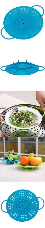 Silicone Steamer Basket with Locking Handles Steam Vegetables Kitchen Cooking Cooker Tool Dumpling Veggie Food (Blue)
