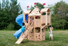 Frolic 840 cedar playset is splinter-free, chemical-free, and maintenance-free and features swings, slides, climbing walls, jungle gyms, and more