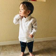 3346df3f Baby Boy dress shirt Wedding party 1st birthday Baptism Long sleeve navy  blue linen shirt Boys clothes Ring bearer shirt