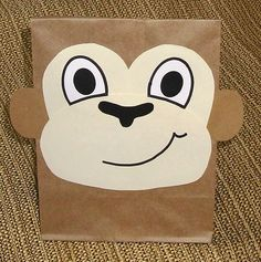 Made to Order - Set of 10 handmade monkey design party favor treat sacks for your childs Safari, Zoo, Wild animals, Jungle, Monkey, or Rainforest theme