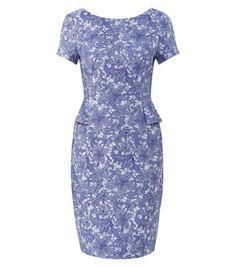 Blue Jacquard Lace Peplum Pencil Dress