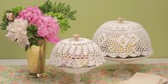 Grab a crocheted doily, stiffen it with Mod Podge, and you've got yourself a pretty cake dome!