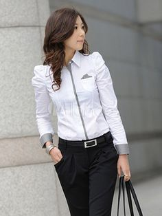 Lady White Cotton OL Shirts Plus Size Korean Puff Sleeve Turn Down Collar Elegant Women Fashion Blouses Cool Outfits, Fashion Outfits, Womens Fashion, Corporate Attire, Business Casual Outfits, Pajamas Women, Casual Dresses, Clothes For Women, Shirts