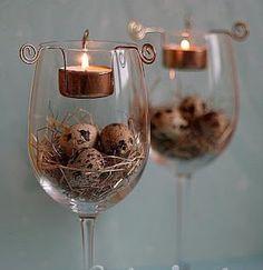 Easter Centerpiece Wine Glasses with Tea Lights 22 Interesting DIY Wine Glass Centerpieces Tea Light Candles, Tea Lights, Wine Glass Centerpieces, Vases, Decoracion Low Cost, Diy Osterschmuck, Diy Easter Decorations, Easter Centerpiece, Candle Decorations