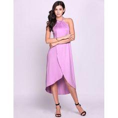 Casual Women Halter Sleeveless Irregular High Low Hem Solid Dress Beach Dress