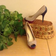 """Burgundy, Beige, And Blue Dress Shoes Genuine suede and patent leather heels. Blue 3"""" heel and 1"""" platform burgundy sole. Enzo Angiolini Shoes Heels"""