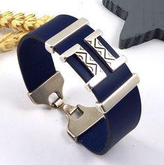 Kit tutoriel bracelet cuir bleu boho geometrique 3 et plaque argent : Kits, tutoriels bijoux par bijoux-giuliana