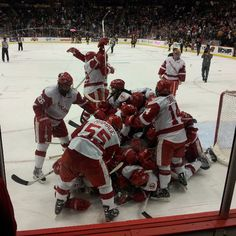 WCHA Hockey Final Five Champions! Wisconsin Men's Hockey keeps rollin to the NCAA tourney!     The Badgers started the season 1-7-2 and then went 21-5-5 to win their first Broadmoor Trophy since 1998. On, Wisconsin!