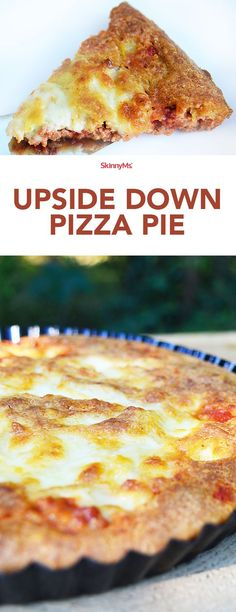 This Upside Down Pizza Pie recipe really turns things upside down! Try it for dinner tonight! Oven Recipes, Ww Recipes, Pizza Recipes, Healthy Dinner Recipes, Cooking Recipes, Mince Recipes, Budget Recipes, Protein Recipes, Pasta Recipes