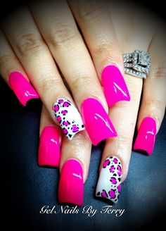 Hot pink, white with hot pink Leopard gel polish, done by Terry