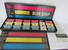 Vintage Blue Chip Stock Market Game 1958   #ship #cards #pink #cat #blue #light #vintage #yellow #pin #open