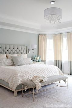 gray, white, and tan bedroom. Great two tone curtains and upholstered headboard! Love the softness of the neutral colors gray, white, and tan bedroom. Great two tone curtains and upholstered… Tan Bedroom, Bedroom Inspirations, Home Bedroom, Bedroom Makeover, Bedroom Decor, Feminine Bedroom, Beautiful Bedrooms, Home Decor, Bedroom Color Schemes