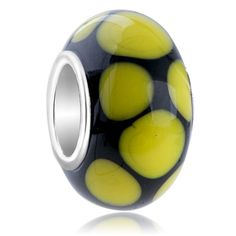 Charms Beads - yellow dots slim fit murano glass beads charms bracelets all brands Image.