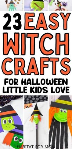 Halloween witch crafts for kids. Witchy crafts for little kids to make at home or in preschool. Halloween crafts for toddlers and preschoolers. Easy Fall Crafts, Easy Arts And Crafts, Easy Crafts For Kids, Toddler Crafts, Kid Crafts, Preschool Halloween, Halloween Crafts For Toddlers, Halloween Costumes For Kids, Fall Activities For Toddlers