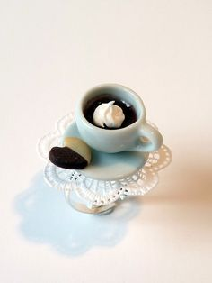 Polymer clay miniature coffee ring. With heart shaped chocolate/vanilla cookie. I) like This!!!