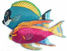 2 Hand Painted Metal Tropical Fish Wall Hanging - Handcrafted . $30.95. Hand painted metal tropical fish design. Hand cut from recycled steel drum. Caribbean art. A wonderful addition to your tropical décor. For an outstanding display, purchase several of our various tropical fish designs and make up a colorful school of fish. You will appreciate the quality of the painting as well as the solid feel of the metal. This is not a stamped out piece. It has been hand cut from ...