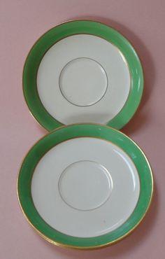 JOHNSON BROTHER BROS China ANTIQUE Dinnerware Set PAREEK GREEN 3 Teacup SAUCERS Johnson Bros, Tea Cup Saucer, Teacup, Dinnerware, Brother, China, Plates, Ceramics, Antiques