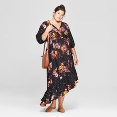 24034387dcb Maternity Floral Print Mix Asymmetrical Hem Dress - Isabel Maternity by  Ingrid   Isabel™ Black