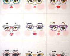 Rainbow girls cloth doll faces ready to sew fabric panel white