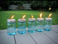 {GREAT IDEA!! NO BUGS!! All you need is a package of Mason jars, some cotton string and some liquid citronella (find it in big jugs at any home-improvement store and even some grocery stores). Use a hammer and nail to poke a hole in the top of the lid, then pour in the citronella, put the top on and drop in the wick. Allow the string about 10 minutes to soak up some oil.}