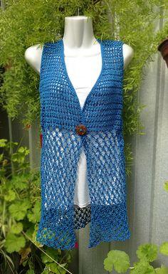 Tapado calado sin mangas, primavera-verano tejido a crochet by Suhyza Tejidos #Vest Crochet