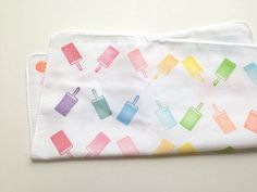 popsicle hand stamped hand towel. ice cream by talktothesun