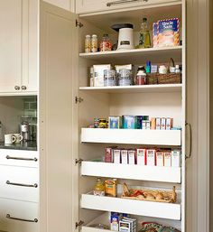 IN KITCHEN ALCOVE? Built In Pantry Cabinet With Large Deep Pull Out  Drawers. Link Has A Bunch Of Good Kitchen Pantry Ideas.