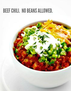 Thick and Beefy Beanless Chili - loads of meat and even more flavor!