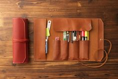 Handmade Leather Rolling Pen Pencil Case Pouch, Roll up Makeup Cosmetic Pouch  #hevitz
