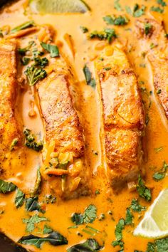Pan-seared salmon is smothered in a Thai red curry coconut sauce. It's creamy, flavorful, and simple to make! Carrots, broccolini, fresh basil, and cilantro add even more freshness and flavor. Thai Salmon Recipe, Thai Salmon Curry, Salmon Patties Recipe, Baked Salmon Recipes, Thai Red Curry, Salmon And Rice, Salmon Pasta, Salmon Dinner, Red Curry Sauce