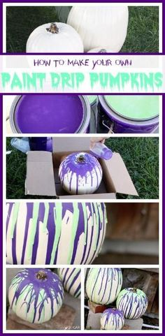 how to make your own Paint Drip Pumpkins - these are a super quick and easy craft for Halloween and Fall decor - so fun!! - - Sugar Bee Crafts by TAnn224