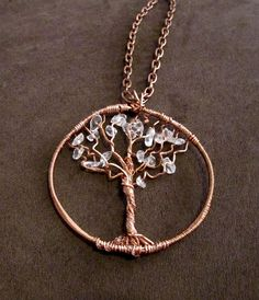 Repurposed Upcycled Copper Wire & Clear Quartz Crystal Chips Tree of Life Necklace by SoBayBaubles, $15.00